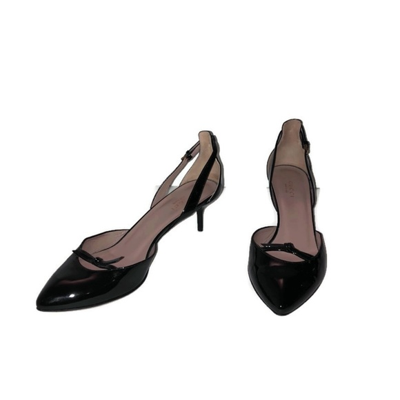 Gucci Black Beverly Bow Mid Heel Patent